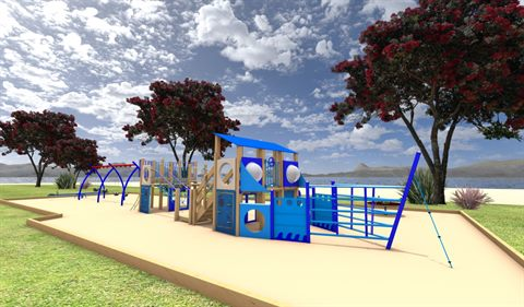 An artist's drawing of the new Marsden Bay Playground.