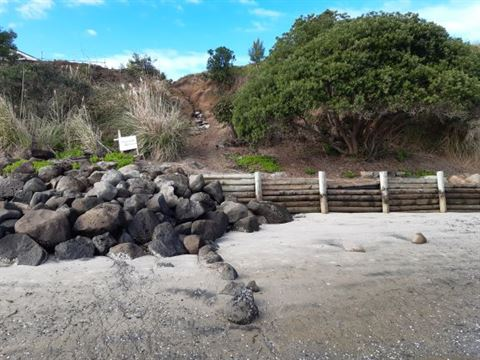 A photo showing the section of seawall to be replaced at One Tree Point.