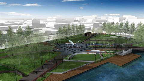 Full park image of the new Town Basin park.