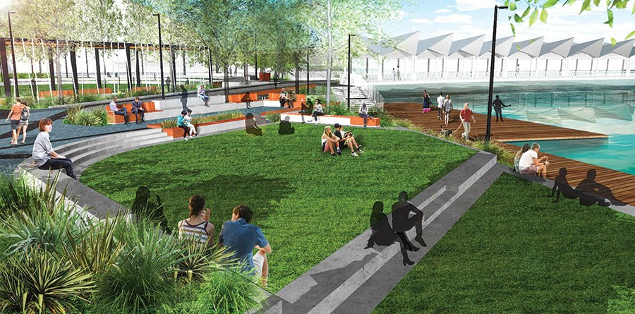 Terraces at the new Town Basin park.