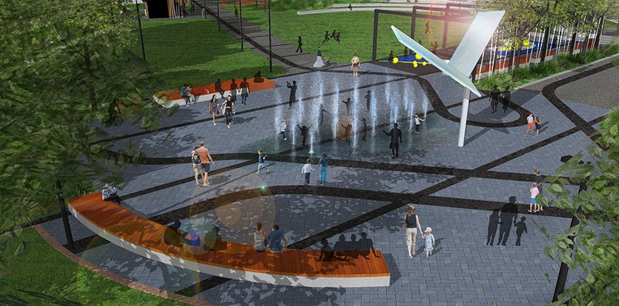 Water feature at the new Town Basin park.